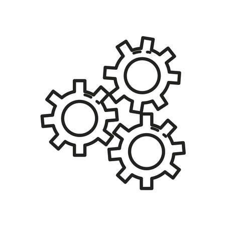 Gears line style icon design, construction work repair machine part technology industry and technical theme Vector illustration