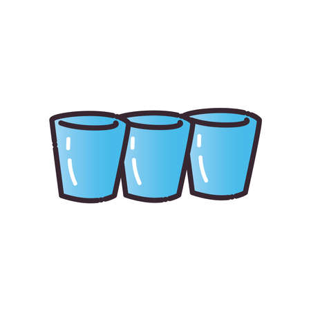shots glasses fill and gradient style icon design, Alcohol drink bar and beverage theme Vector illustration Ilustracja