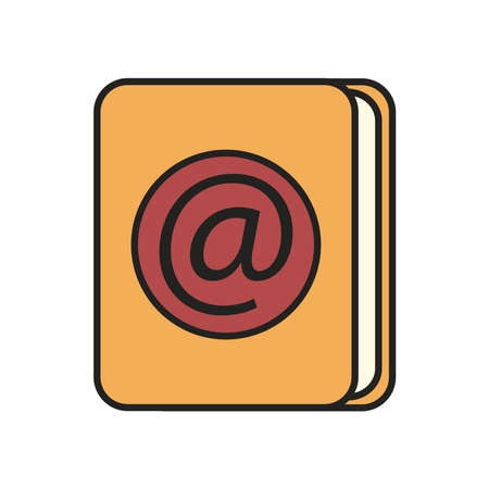 Email book line and fill style icon design, Call telephone communication hotel office public dial connection and technology theme Vector illustration