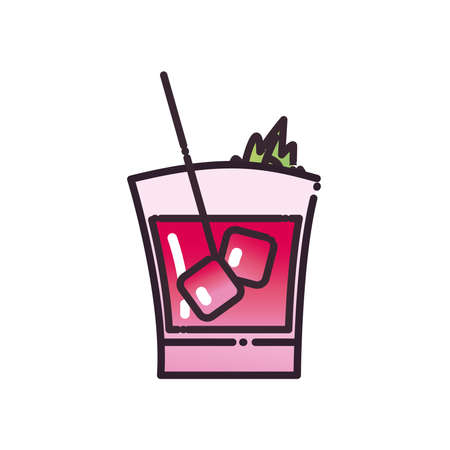 Cocktail glass with ice cubes and straw fill and gradient style icon design, Alcohol drink bar and beverage theme Vector illustration