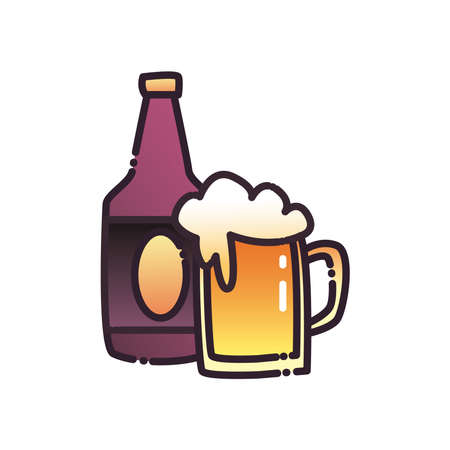 Beer glass fill and gradient style icon design, Pub alcohol bar brewery drink ale and lager theme Vector illustration
