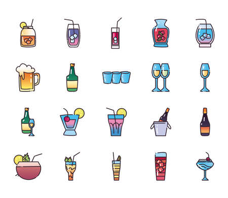 Cocktails fill and gradient style icon set design, Alcohol drink bar and beverage theme Vector illustration