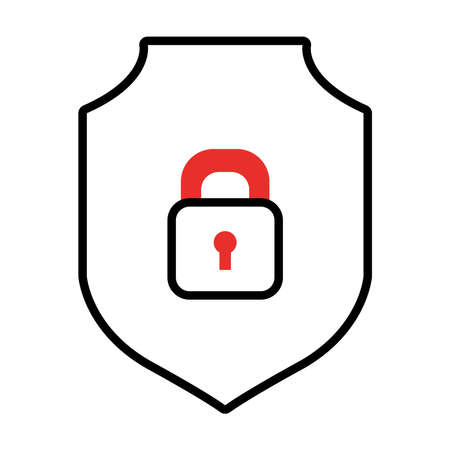 shield with padlock icon over white background, half line half color style, vector illustration