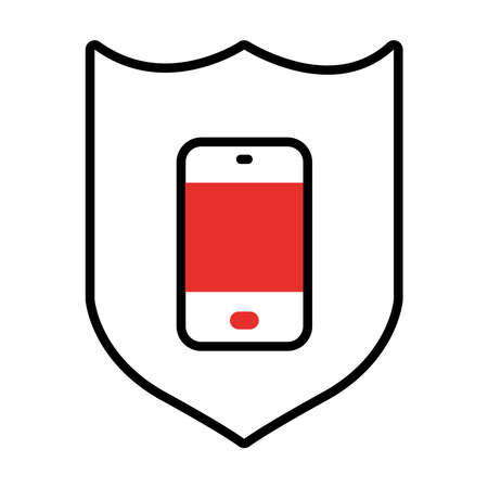 shield with smartphone icon over white background, half line half color style, vector illustration