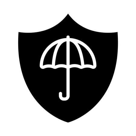 shield with umbrella icon over white background, half line half color style, vector illustration Stock Illustratie