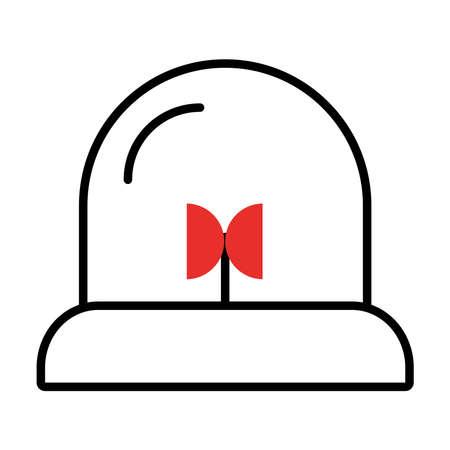 siren icon over white background, half line half color style, vector illustration