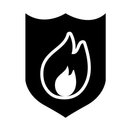 shield with fire flame icon over white background, silhouette style, vector illustration