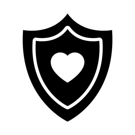 shield with heart icon over white background, silhouette style, vector illustration