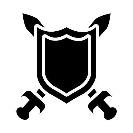 shield and crossed swords over white background, silhouette style, vector illustration