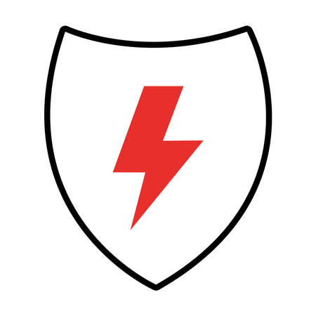 shield with thunder icon over white background, half line half color style, vector illustration Stock Illustratie