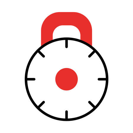 round padlock icon over white background, half line half color style, vector illustration