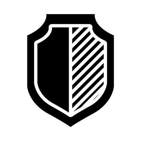 battle shield icon over white background, half line half color style, vector illustration