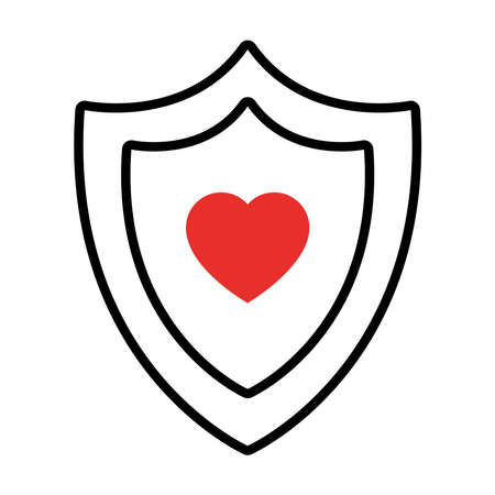 shield with heart icon over white background, half line half color style, vector illustration