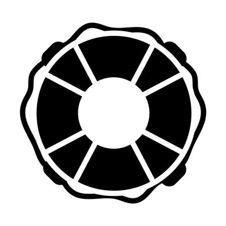 round lifebuoy over white background, silhouette style, vector illustration Ilustracja