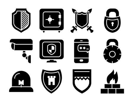 strongbox and shield icon set over white background, silhouette style, vector illustration Stock Illustratie