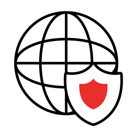 global sphere and shield icon over white background, half line half color style, vector illustration