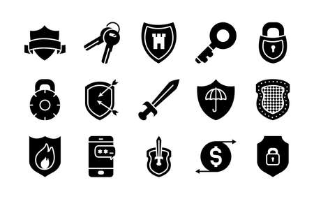 sword and security shield icon set over white background, half line half color style, vector illustration Stock Illustratie