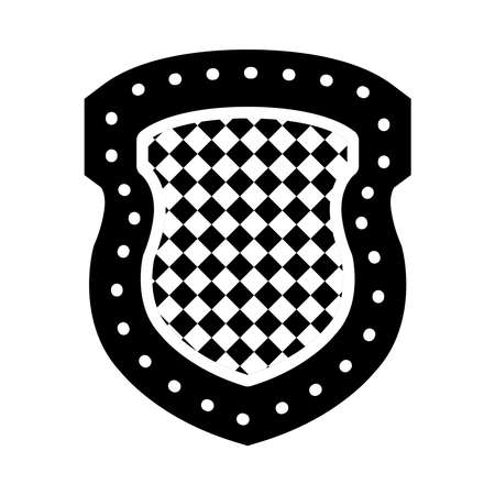 medieval shield icon over white background, silhouette style, vector illustration