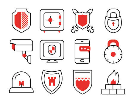 strongbox and shield icon set over white background, half line half color style, vector illustration