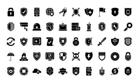 security and shields icon set over white background, silhouette style, vector illustration