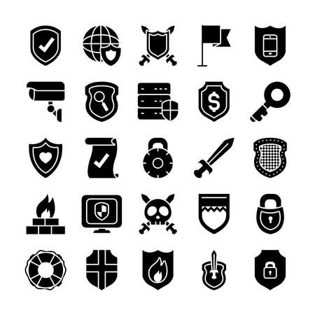 old key and security shield icon set over white background, half line half color style, vector illustration Stock Illustratie