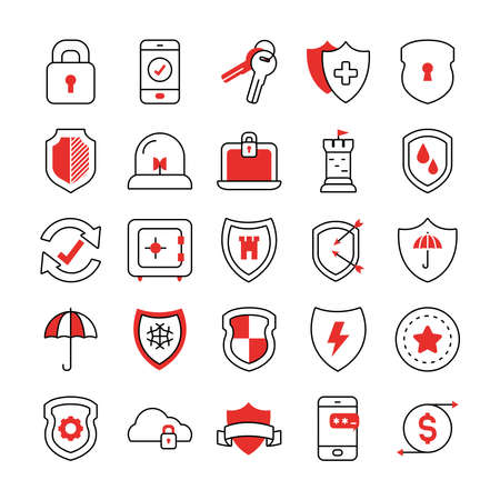 keys and shield icon set over white background, half line half color style, vector illustration
