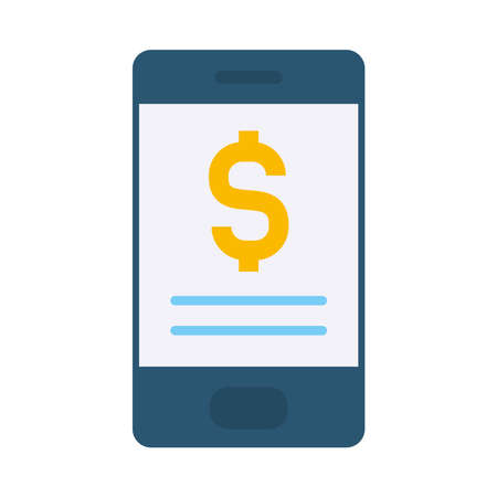 smartphone with money symbol icon over white background, flat style, vector illustration