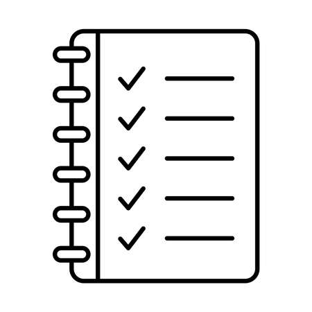notebook with check marks icon over white background, line style, vector illustration