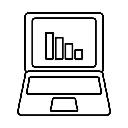 laptop computer with graphic chart icon over white background, line style, vector illustration