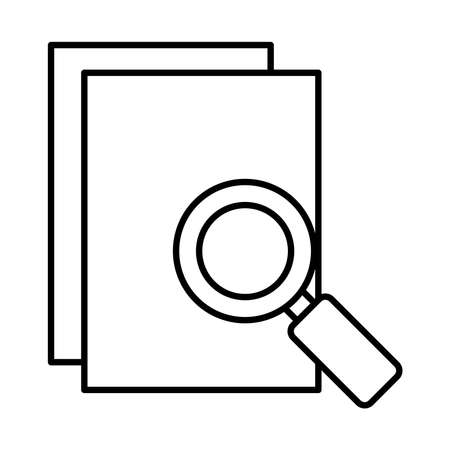 documents pages and magnifying glass icon over white background, line style, vector illustration