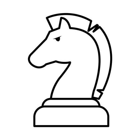 chess knight icon over white background, line style, vector illustration