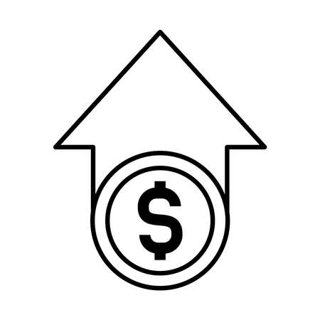 arrow up with money symbol icon over white background, line style, vector illustration