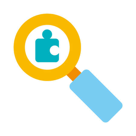 magnifying glass with jigsaw piece icon over white background, flat style, vector illustration 일러스트