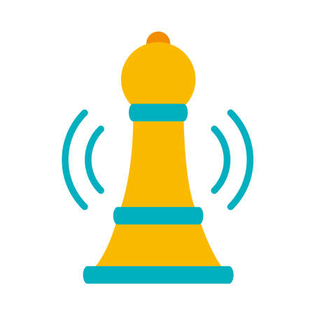 strategy pawn icon over white background, flat style, vector illustration