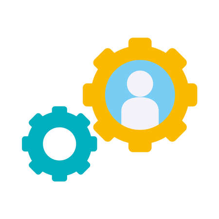 gear wheels with avatar icon over white background, flat style, vector illustration