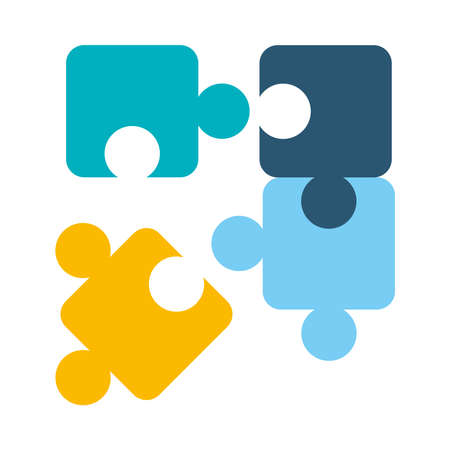 jigsaw puzzles icon over white background, flat style, vector illustration