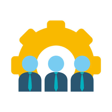 avatar businesspeople and gear wheel icon over white background, flat style, vector illustration
