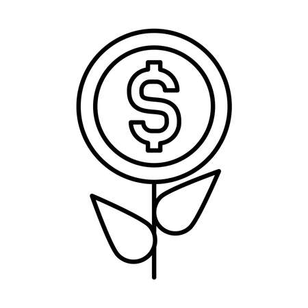 profit plant, plant with money coin icon over white background, line style, vector illustration