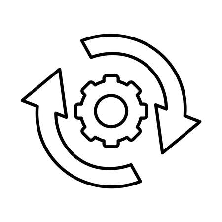 gear wheel with circle arrows icon over white background, line style, vector illustration Illustration