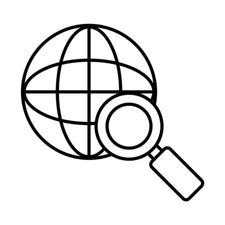 global sphere with magnifying glass icon over white background, line style, vector illustration