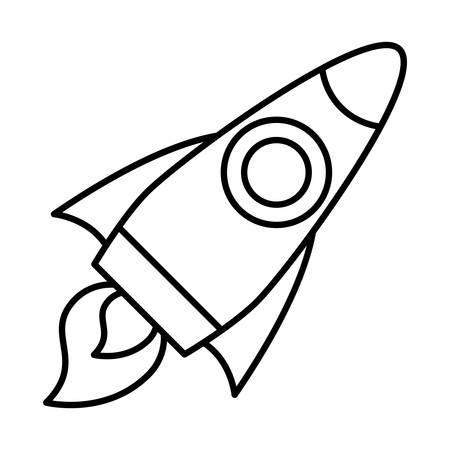space rocket icon over white background, line style, vector illustration