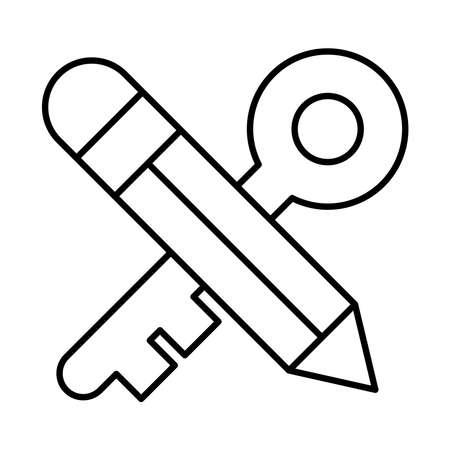 strategy concept, pencil and old key crossed over white background, line style, vector illustration
