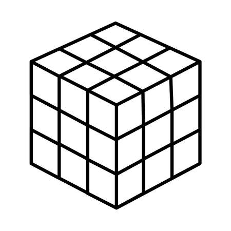 strategy cube icon over white background, line style, vector illustration