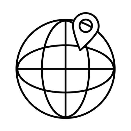 global sphere and location pin icon over white background, line style, vector illustration