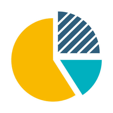 graphic pie chart icon over white background, flat style, vector illustration Illustration