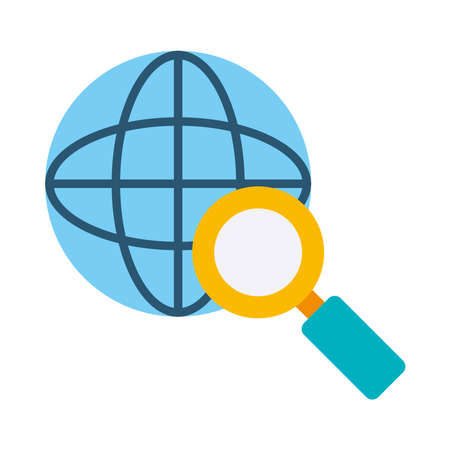global sphere with magnifying glass icon over white background, flat style, vector illustration