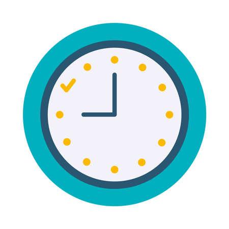 analog clock icon over white background, flat style, vector illustration