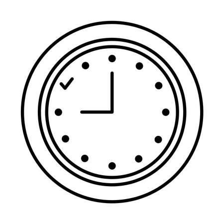 analog clock icon over white background, line style, vector illustration