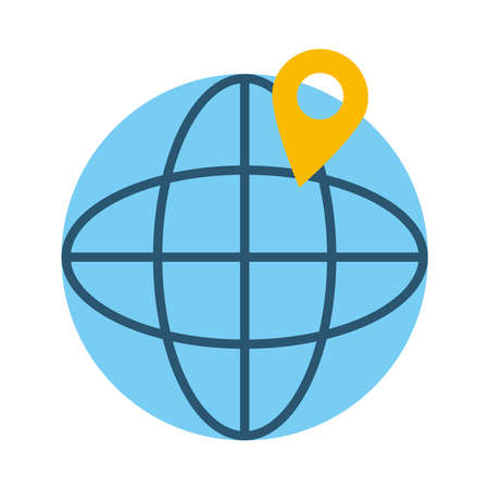 global sphere and location pin icon over white background, flat style, vector illustration