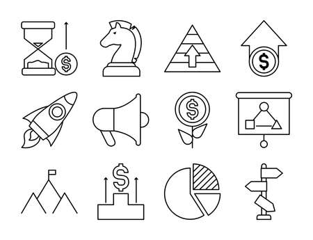 rocket and strategy icon set over white background, line style, vector illustration